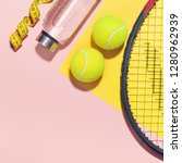 sport flat lay background on... | Shutterstock . vector #1280962939