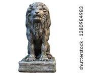 Stone Isolated On White Lion...