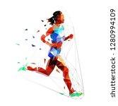running woman  low polygonal...   Shutterstock .eps vector #1280994109
