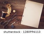 vintage sewing things with... | Shutterstock . vector #1280996113