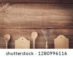 vintage cookware with wooden... | Shutterstock . vector #1280996116