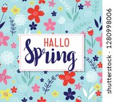 hello spring with floral... | Shutterstock .eps vector #1280998006