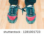 shoes shoelaces tied to each... | Shutterstock . vector #1281001723