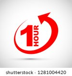 one hour arrow icon | Shutterstock .eps vector #1281004420