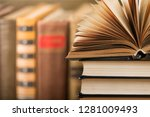 book open in the library | Shutterstock . vector #1281009493