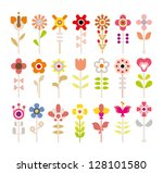 flowers   set of isolated... | Shutterstock .eps vector #128101580