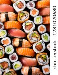 top view of variety of sushi... | Shutterstock . vector #1281020680
