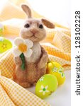 easter bunny with painted... | Shutterstock . vector #128102228