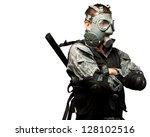 portrait of a soldier with gas... | Shutterstock . vector #128102516