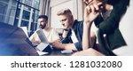 working moments. group of young ... | Shutterstock . vector #1281032080