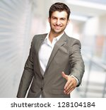 portrait of  young businessman... | Shutterstock . vector #128104184