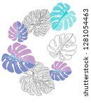 vector tropical pattern with... | Shutterstock .eps vector #1281054463