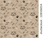 seamless hand drawn pattern... | Shutterstock .eps vector #128106014