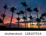 beautiful sunset on a calm day... | Shutterstock . vector #128107514