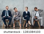 bored multiethnic... | Shutterstock . vector #1281084103
