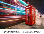 light trails of a double decker ... | Shutterstock . vector #1281085900