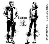 woman and man fashion models  ... | Shutterstock . vector #1281095803