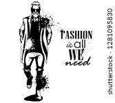 man model dressed in jeans ... | Shutterstock . vector #1281095830
