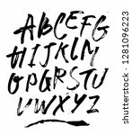 uppercase dry brush alphabet... | Shutterstock .eps vector #1281096223