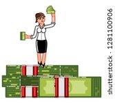 business woman standing on pack ... | Shutterstock . vector #1281100906