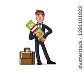 business man holds money.  ... | Shutterstock . vector #1281101023
