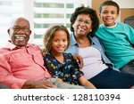 portrait of grandparents with...   Shutterstock . vector #128110394