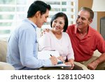 financial advisor talking to... | Shutterstock . vector #128110403