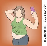 fat woman posing on the phone ... | Shutterstock .eps vector #1281114919