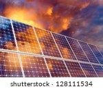 solar battery on sunset sky... | Shutterstock . vector #128111534