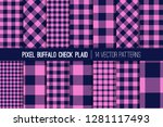 navy blue and pink buffalo... | Shutterstock .eps vector #1281117493