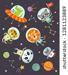 animals in space a cute vector...   Shutterstock .eps vector #1281123889