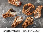 delicious sweet bubble waffles... | Shutterstock . vector #1281149650