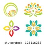 set of four floral designs... | Shutterstock .eps vector #128116283