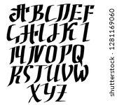 grunge old pen gothic font.... | Shutterstock .eps vector #1281169060