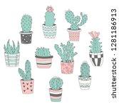 hand drawn cactus  in flower... | Shutterstock .eps vector #1281186913