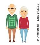 elderly man and woman standing... | Shutterstock .eps vector #1281193189