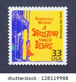 Small photo of UNITED STATES � CIRCA 1999: a postage stamp printed in USA showing an image of the Broadway play A Streetcar Named Desire by Tennessee Williams, circa 1999.