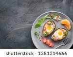 keto diet dish  avocado boats... | Shutterstock . vector #1281214666