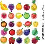 cartoon vegetables and fruits | Shutterstock .eps vector #128122913