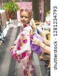 a pretty girl in a kimono.... | Shutterstock . vector #1281234793