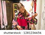 a pretty girl in a kimono.... | Shutterstock . vector #1281236656