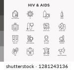 hiv and aids thin line icons... | Shutterstock .eps vector #1281243136