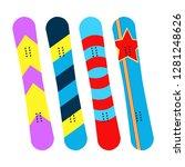 snowboards. snowboards boards... | Shutterstock .eps vector #1281248626