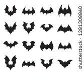 vampire bat silhouette.... | Shutterstock . vector #1281308860