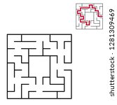 black square maze with entrance ... | Shutterstock .eps vector #1281309469