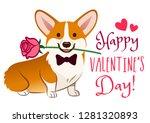 corgi dog with rose flower in... | Shutterstock .eps vector #1281320893