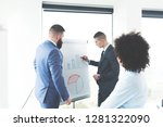 young business intern showing...   Shutterstock . vector #1281322090