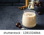 oatmeal dates cinnamon smoothie ... | Shutterstock . vector #1281326866