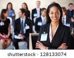 businesswoman delivering... | Shutterstock . vector #128133074
