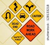 Road Sign Set   Textual Yellow...